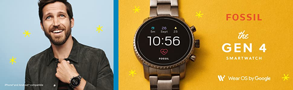 Fossil Mens Gen 4 Explorist HR Stainless Steel Touchscreen Smartwatch with Heart Rate, GPS, NFC, and Smartphone Notifications