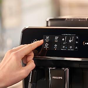 pl/ástico Schwarz//mattschwarz Cafetera autom/ática Philips 2200 Serie SensorTouch Benutzeroberfl/äche