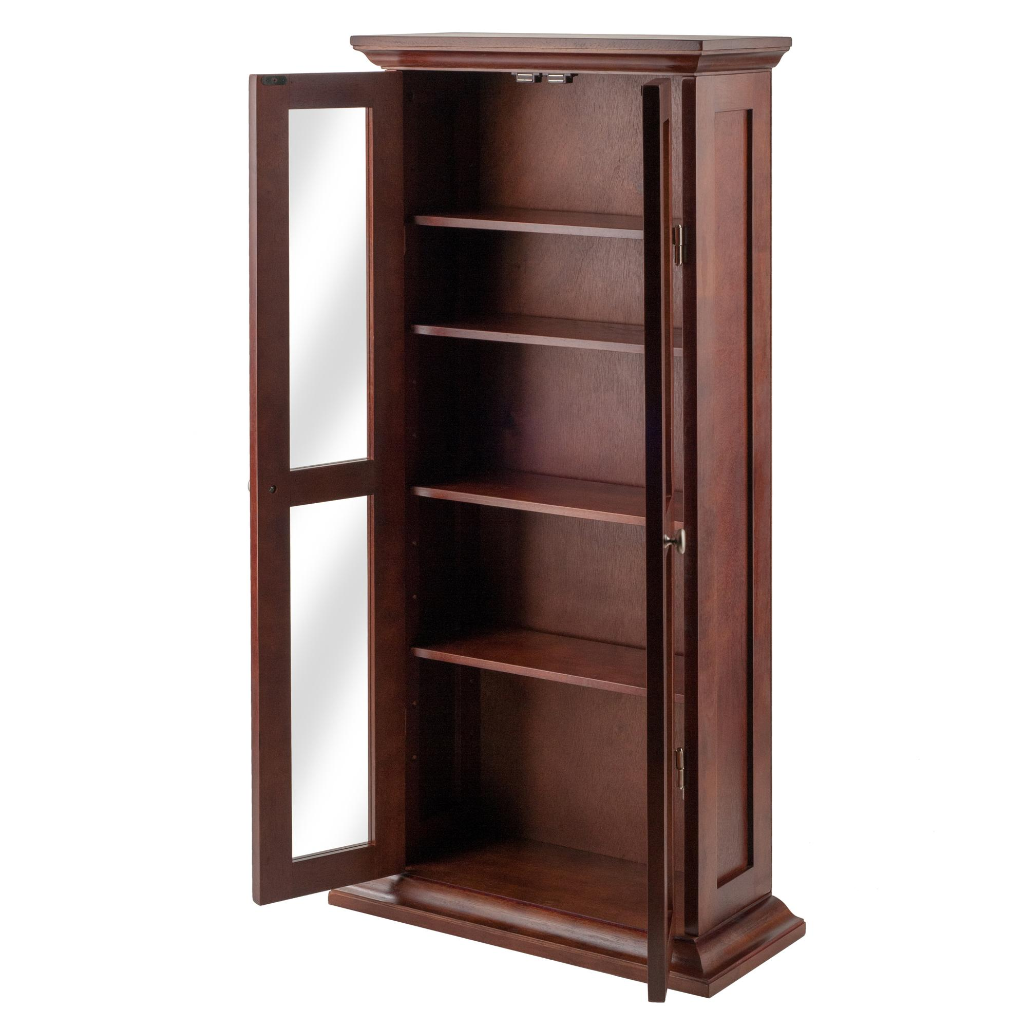 Winsome wood cd dvd cabinet with glass doors for Kitchen cabinets amazon