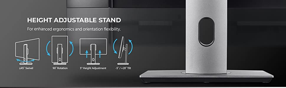 height adjustable stand for nehanced ergonomics and orientation flexibility