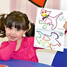 girl with connect-the-dot Wikki Stix playsheets