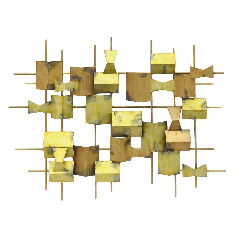 Amazon.com: Three Hands Corporation 32442 Metal Abstract Wall Gold ...