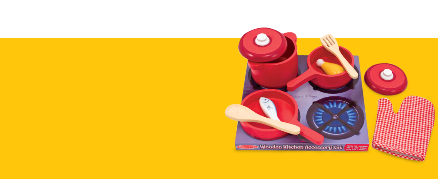 Fantastic Melissa Doug Deluxe Wooden Kitchen Accessory Set Pots Pans 8 Pieces Home Remodeling Inspirations Propsscottssportslandcom