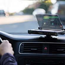 See Hudly Wireless head-up display HUD from any angle on the clear display