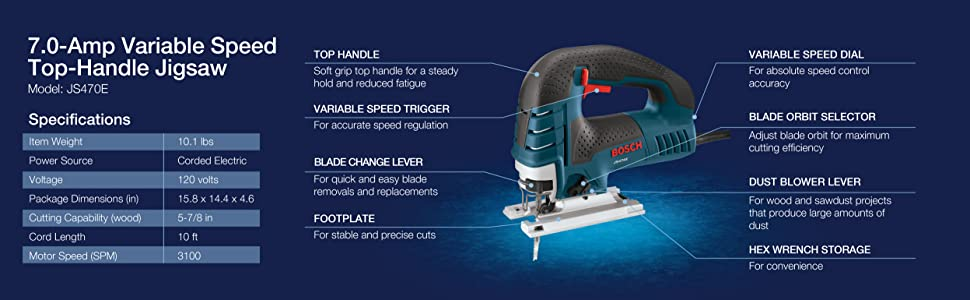 7.0-Amp Variable Speed Top-Handle Jigsaw