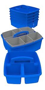 Storex Small Book Bin, Blue, 6-Pack