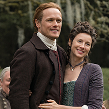Sam Heughan and Caitriona Balfe as  Jamie and Claire Fraser