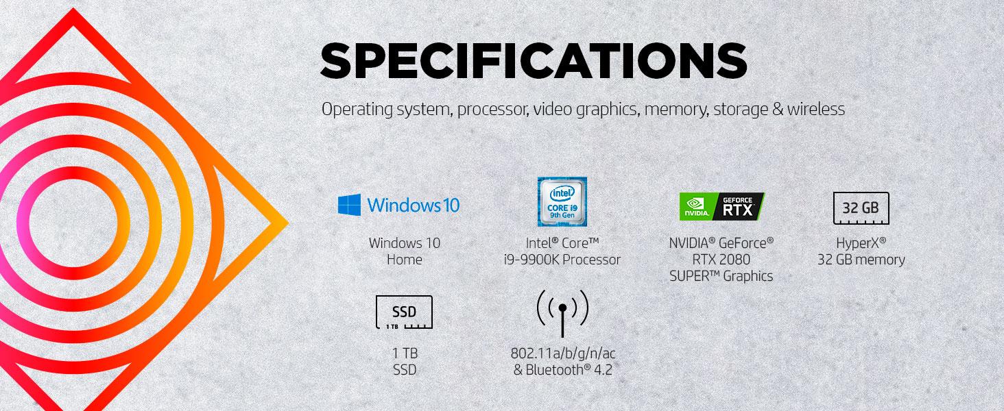 Intel Core 9th gen i9-9900K NVIDIA GeForce RTX 2080 HyperX SSD solid state drive bluetooth