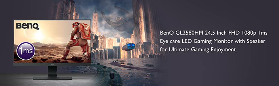 BenQ GL2580HM 24 5 Inch FHD 1080p 1 ms Eye care LED Gaming Monitor, HDMI,  Speaker , Black