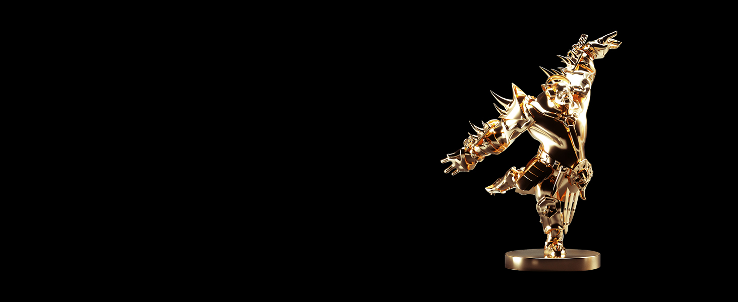 -Golden orc statue floating in space