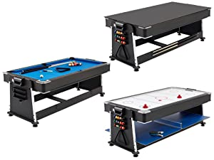 21b978c34fc mightymast leisure revolver 7ft 3-in-1 pool air hockey table tennis game