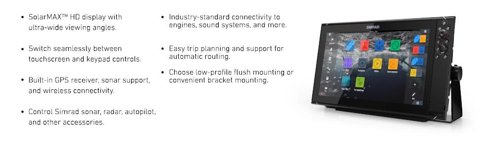 solarmax hd, touchscreen, gps, simrad radar, trip planning, routing