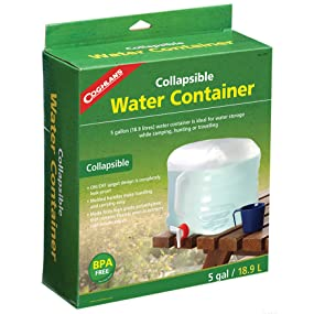 water, storage, emergency, spigot, poly, food, BPA Free, collapsible, handle, molded, Coghlan's