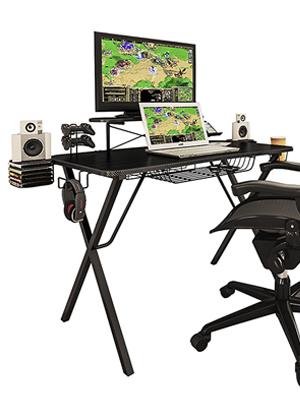 Peachy Atlantic Gaming Original Gaming Desk Pro Curved Front 10 Games Controller Headphone Speaker Storage 40 25X23 5 Curved Front Desktop Home Interior And Landscaping Pimpapssignezvosmurscom