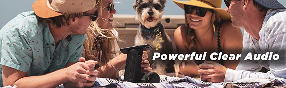 Powerful clear audio friends enjoying a boating trip together in the summer with a cute dog