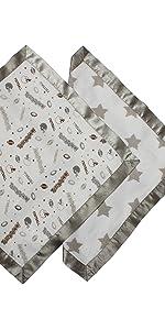 Bacati - Sports Muslin 2 Pc Security Blankets (Football Brown/Grey)