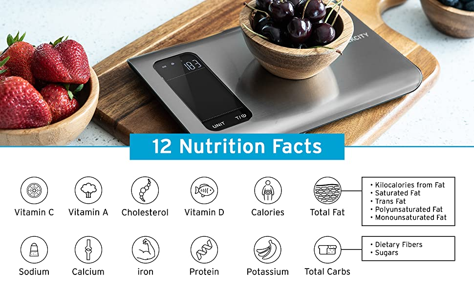Etekcity Nutrition Scale has 12 nutrition facts that enough to meet daily needs.