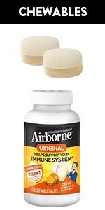 Airborne Original Chewable Tablets Immune Support Vitamin C A E Zinc