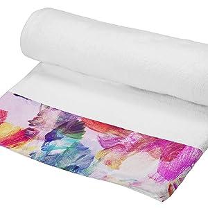 Telo in Spugna con Balza Applicata Stampata in Digitale Multicolore Foglia