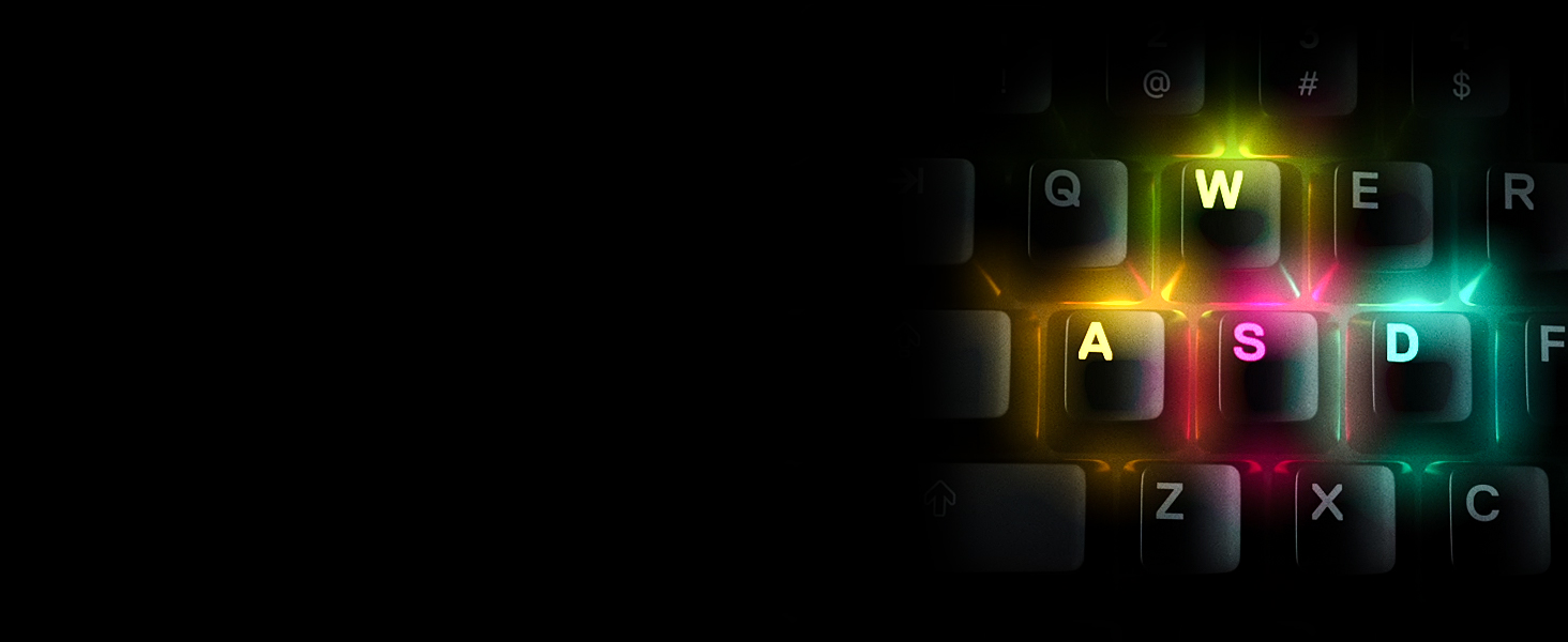 """- Apex 5 """"WASD"""" keys each lit up in a different RGB color"""