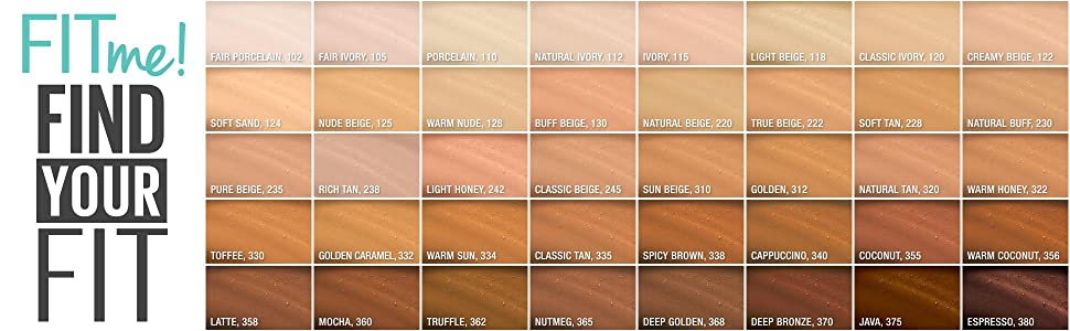 maybelline fit me foundation color chart