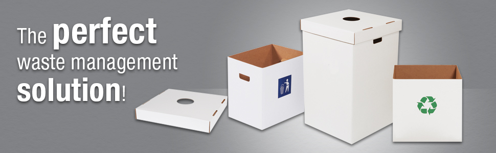 Corrugated Trash Cans Pre-Printed and White with Recycle or Waste Logo for Events