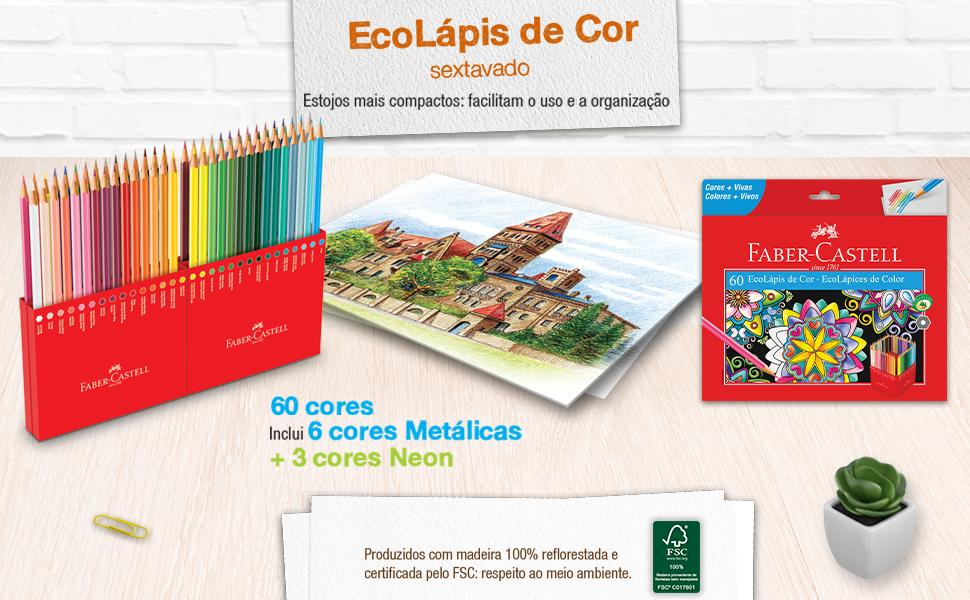ecolápis de cor, lápis de cor, 60 cores, lápis colorido, colorir, cores metálicas,neon,faber-castell
