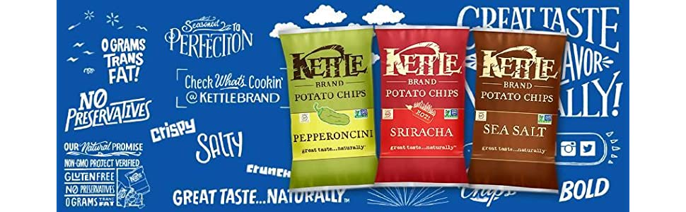 kettle brand, kettle chips, chips, flavor, sea salt