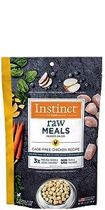 freeze dried dog food, instinct raw meals, raw dog food