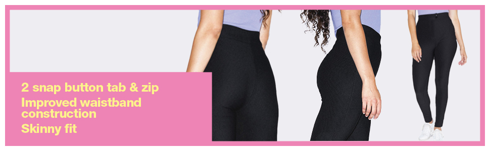 snap button, waistband, skinny fit, american apparel, riding pant