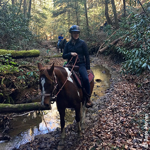 Jojo reitet ein Pferd