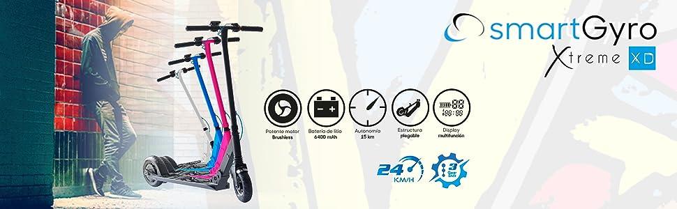 SMARTGYRO Xtreme XD - Patinete eléctrico Plegable con Motor Brushless, batería Panasonic Rueda Delantera neumática y Trasera Maciza antipinchazos de ...