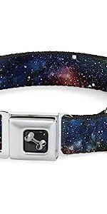 Star Dust Collage Galaxy Galactic Space Stars Milky Way Collar Dog Pet Blue Pink Purple Black