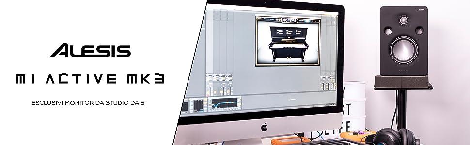 tweeter a cupola in seta da 1 guida donda ottimizzata e ingressi combinati XLR//1//4 Alesis M1 Active MK3 Esclusivi monitor da studio attivi bi-amplificati da 65 W con driver in alluminio da 5