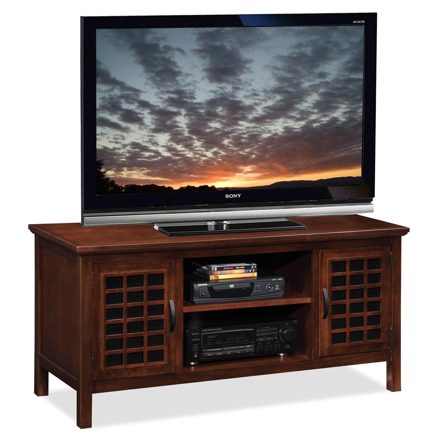 Amazoncom Leick 50 Inch Wide Tv Stand With Black Glass Chocolate