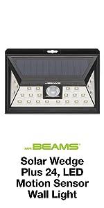 mr beams solar wedge plus 24, outdoor solar led wall light, solar motion sensing spotlight, led spot