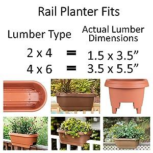 Deck rail pot plant rail planter