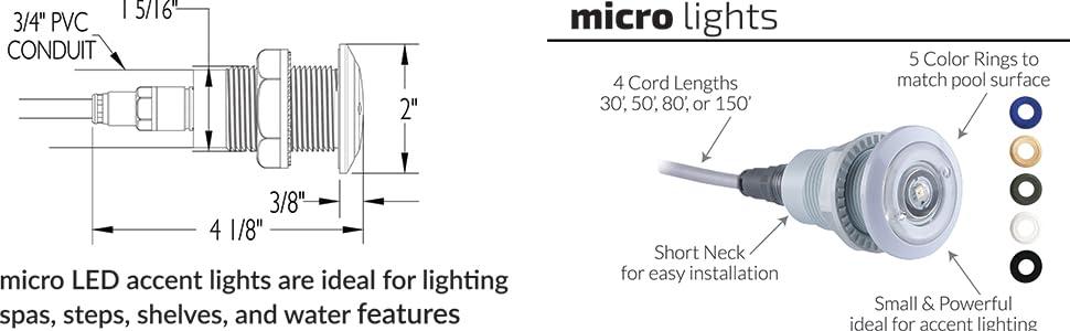 Smith FLED-TM-C-30 Treo Micro LED RGB 2W 12V 30/' Cord Pool Light S.R