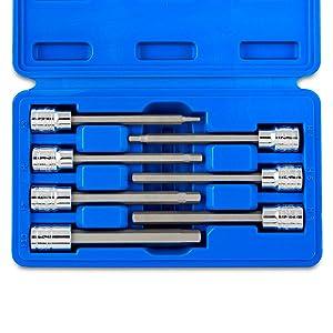 torx extra long socket set chrome vanadium steel ratchet wrench inch drive