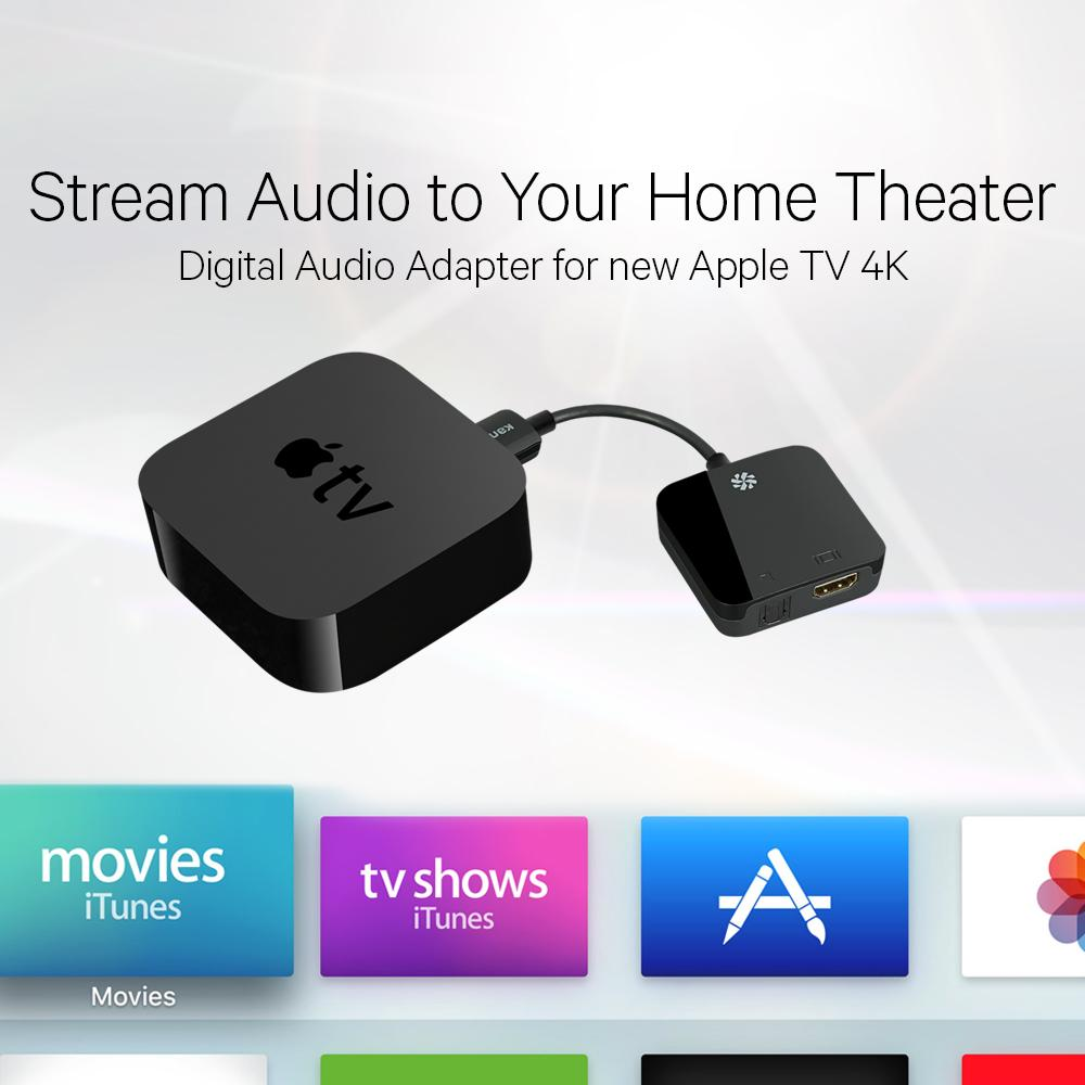 Kanex HDMI AV Digital Audio Adapter for New 4K Apple TV Black