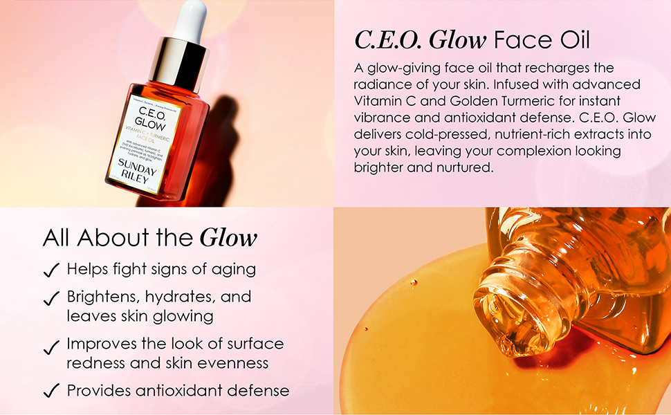 CEO Glow Face Oil: Fights signs of aging, Brightens, Hydrates, improves surface redness