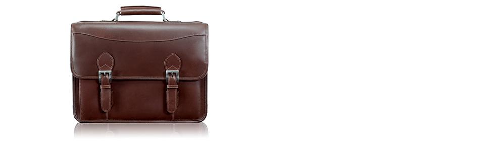 McKlein USA Belvedere 15.4 Leather Double Compartment Laptop Briefcase