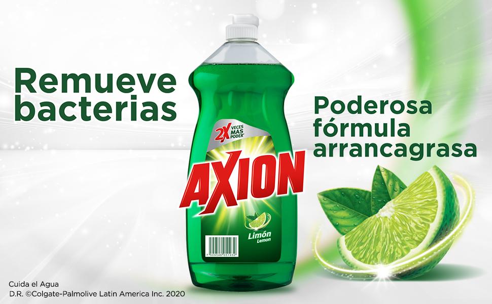 Axion Limón; remueve bacterias; formula antigrasa; lavatrastes