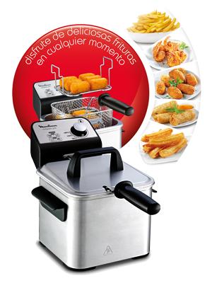 Moulinex Compact Pro AM3220 Freidora de 2 L de aceite y 600 g de alimento, cuba acero inoxidable extraíble, accesorio para freír a dos niveles, fácil limpieza, potencia de 1700 W, frituras