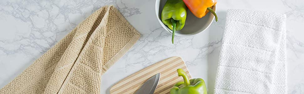 Cotton Ultra-Absorbent Cleaning Drying Kitchen Chevron Bar Mop Dish Towels Everyday Home Basic