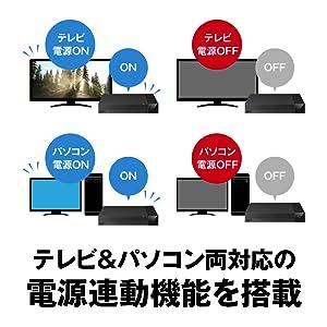 テレビ&パソコン両対応の電源連動機能を搭載