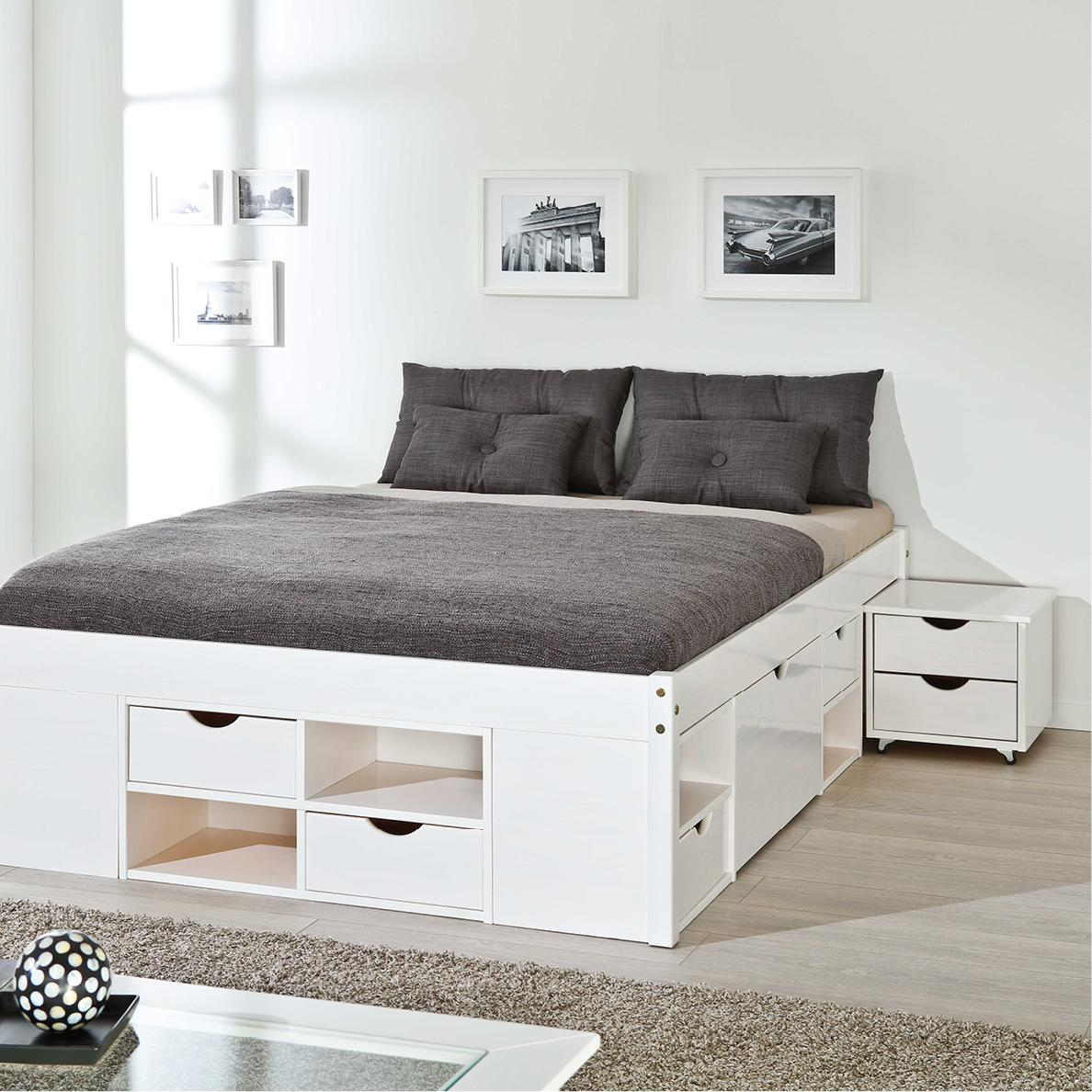 inter link bett funktionsbett doppelbett stauraumbett bett mit schubladen echt holz bio weiss. Black Bedroom Furniture Sets. Home Design Ideas