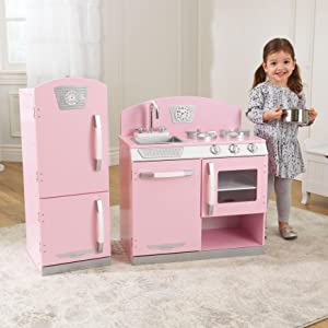 High Quality Pink Retro Kitchen And Refrigerator