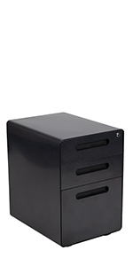 Ergonomic 3-Drawer Mobile Locking Filing Cabinet with Anti-Tilt Mechanism