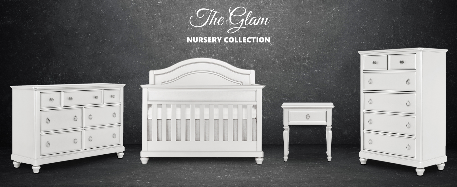 glam nursery collection, convertible crib, baby nursery, double dresser, tall chest, nightstand